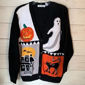 Vintage Halloween Sweater Cardigan Medium Ghost